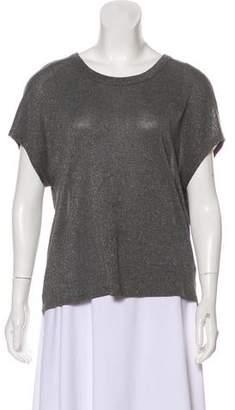 RtA Denim Metallic Short Sleeve Top