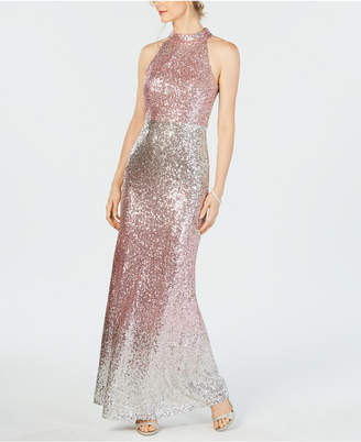 Vince Camuto Halter-Top Ombre Sequin Gown