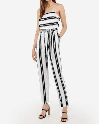 Express Striped Strapless Sash Tie Jumpsuit