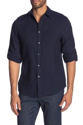 Perry Ellis Solid Long Sleeve Linen Shirt