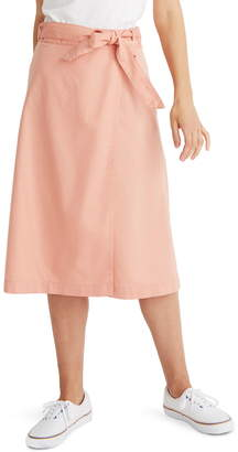 Madewell Belted Faux Wrap Midi Skirt