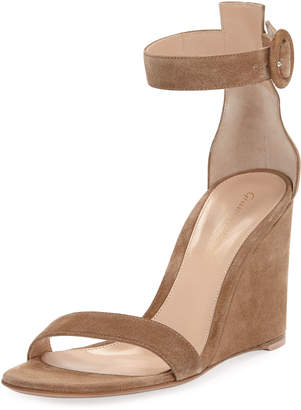 Gianvito Rossi Suede High-Wedge Sandals