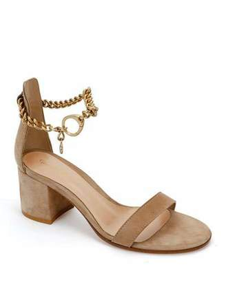 Gianvito Rossi Suede Ankle Chain Sandals