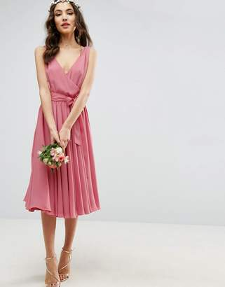 Asos Design DESIGN Bridesmaid bow front midi dress