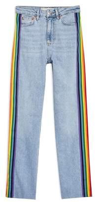 Topshop Rainbow Side Straight Leg Jeans