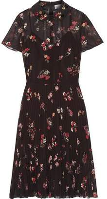 RED Valentino Embellished Floral-Print Chiffon Dress