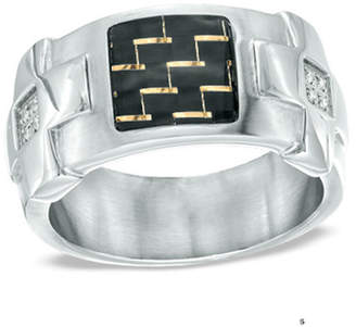 Zales Men's Shaquille O'Neal Carbon Fiber and Diamond Accent Ring in Stainless Steel
