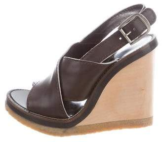 Chloé Slingback Leather Wedges