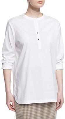 Misook Button-Placket Long-Sleeve Blouse, White, Plus Size