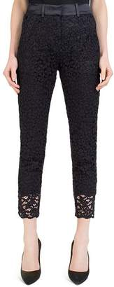 The Kooples Cropped Satin-Waist Lace Pants