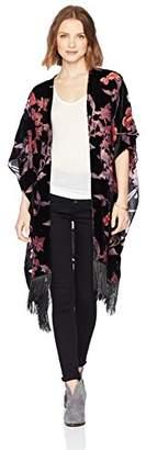 Ella Moon Women's Irina Printed Burnout Velvet Fringe Trim Kimono