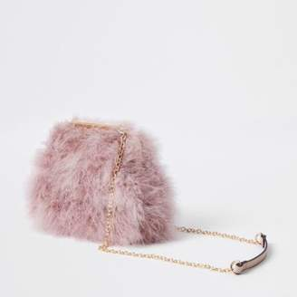 River Island Womens Pink feather clutch chain bag