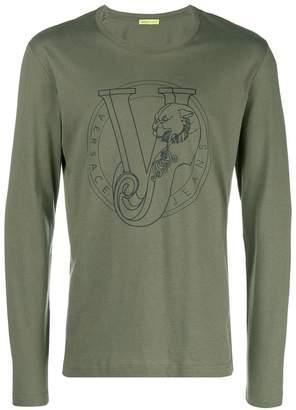 Versace logo print longsleeved T-shirt