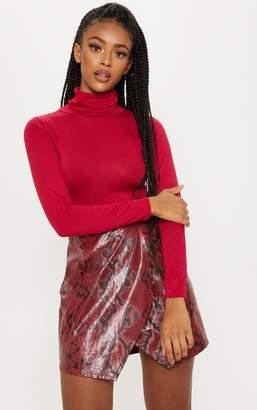 PrettyLittleThing Deep Burgundy Roll Neck Long Sleeve Bodysuit