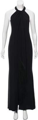 Carmen March Fringe-Trimmed Evening Dress