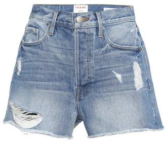 Frame High-waisted denim shorts