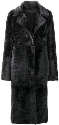 Drome collarless button front coat