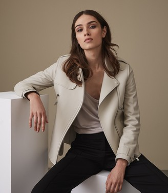 Reiss SAHARA OVERSIZED LEATHER JACKET Off White