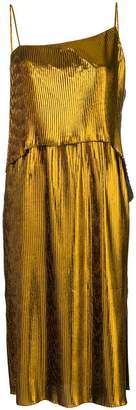 Cédric Charlier asymmetric neck pleated dress