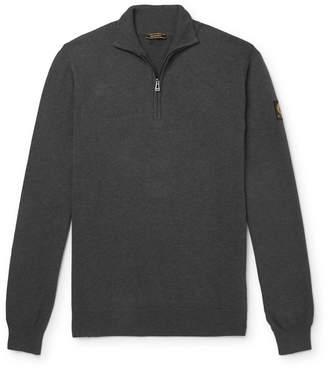 Belstaff Bay Melange Cotton and Silk-Blend Half-Zip Sweater - Men - Gray
