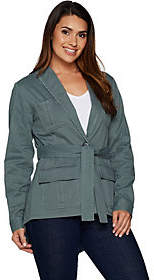 At Qvc  C B Peace Love World Belted Military Jacket W Backpeplum De
