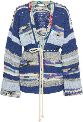 Etro Silk-Trimmed Crocheted Cotton And Linen-Blend Cardigan