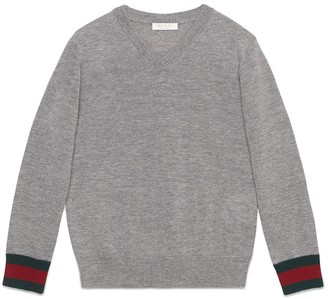 Gucci Kids v-neck sweater with Web