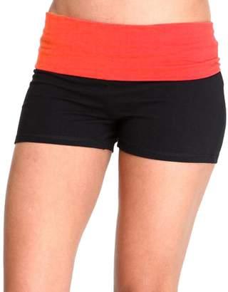 Hollywood Star Fashion Solid Plain Color Yoga Fold Over Shorts Pants