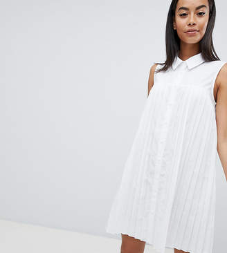 Asos Tall DESIGN Tall mini cotton pleated swing shirt dress