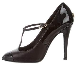 Chanel Leather Cap-Toe Mary Jane Pumps