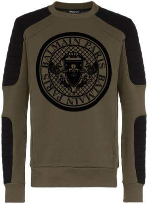 Balmain logo printed crew neck cotton sweater