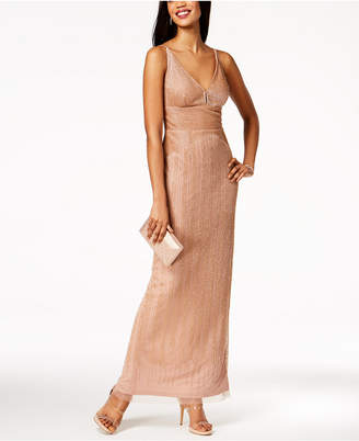 Adrianna Papell Beaded Spaghetti-Strap Gown