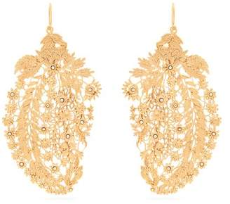 Etro - Crystal Embellished Laser Cut Paisley Earrings - Womens - Gold