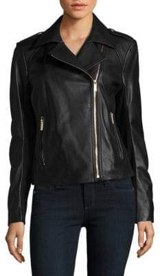 Zippered Leather Motorcycle Jacket