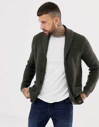 Asos DESIGN ribbed shawl cardigan in charcoal