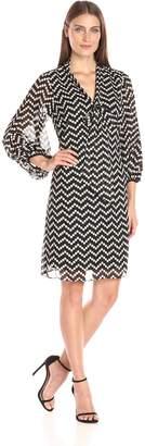 Robbie Bee Women's Elbow Sleeve Dress for Missy Size, Black/Cream