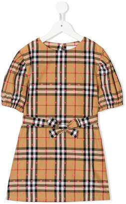 Burberry embroidered short-sleeve check dress