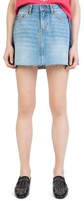 The Kooples Frayed Side-Stripe Denim Mini Skirt