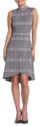 Leota Alyssa Plaid Sleeveless Asymmetric Shift Dress