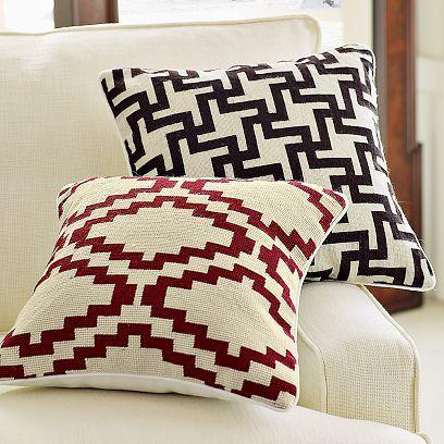 Pixel & Houndstooth Needlepoint Pillows