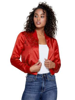 Factory Guess Women's Bellarena Embroidered Bomber Jacket