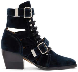 Chloé Navy Velvet Rylee Strap Boots
