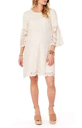 Ingrid & Isabel R) Lace Bell Sleeve Maternity Dress
