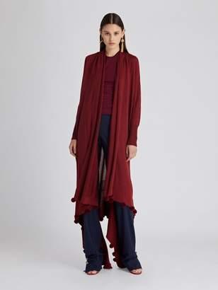 Oscar de la Renta Pompom Wool and Silk Cardigan