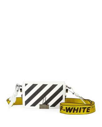 Off-White Mini Striped Saffiano Leather Flap Crossbody Bag with Binder Clip