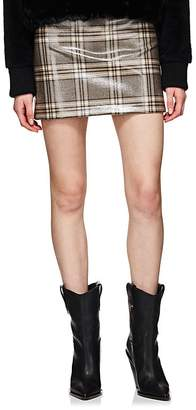 Fendi Women's Coated Wool Tweed Miniskirt