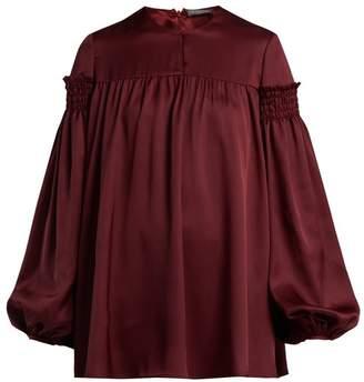 Alexander McQueen Smocked Silk Satin Blouse - Womens - Burgundy