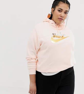 Nike Plus Pink Hoodie With Metallic Logo