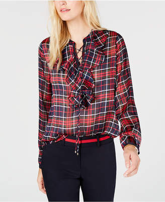 Tommy Hilfiger Plaid Ruffle-Neck Blouse