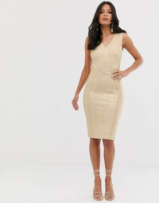 e8419040db0 Lipsy plunge front bandage midi dress in gold